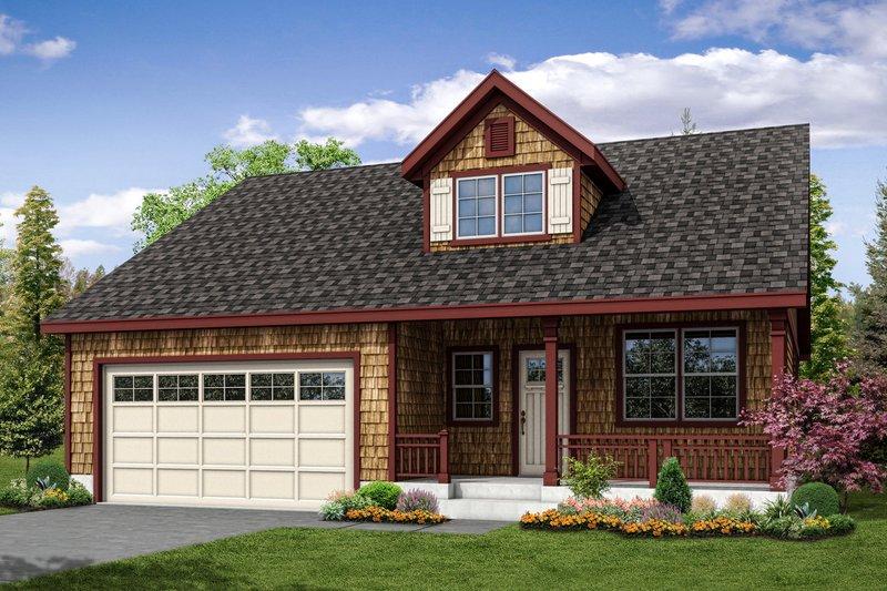 Cottage Exterior - Front Elevation Plan #124-1036