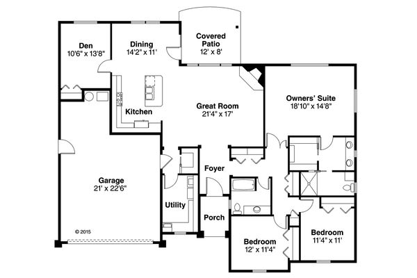 Traditional Floor Plan - Main Floor Plan Plan #124-987