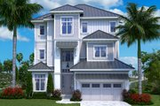Beach Style House Plan - 5 Beds 5.5 Baths 6824 Sq/Ft Plan #27-557 Exterior - Front Elevation
