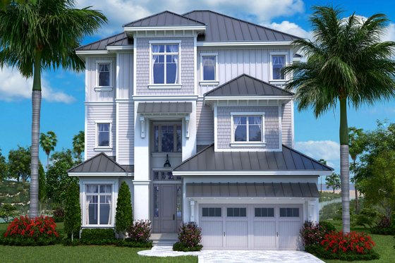 Beach Exterior - Front Elevation Plan #27-557
