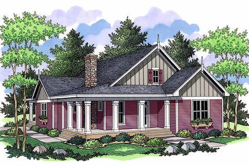 Farmhouse Style House Plan - 3 Beds 2 Baths 1811 Sq/Ft Plan #51-349 Exterior - Front Elevation