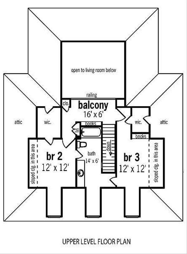 Traditional Floor Plan - Upper Floor Plan Plan #45-290