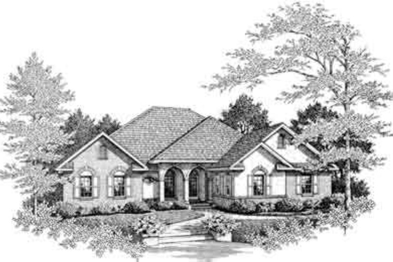 European Exterior - Front Elevation Plan #14-228