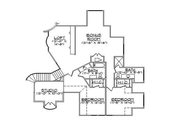 European Floor Plan - Upper Floor Plan Plan #5-444
