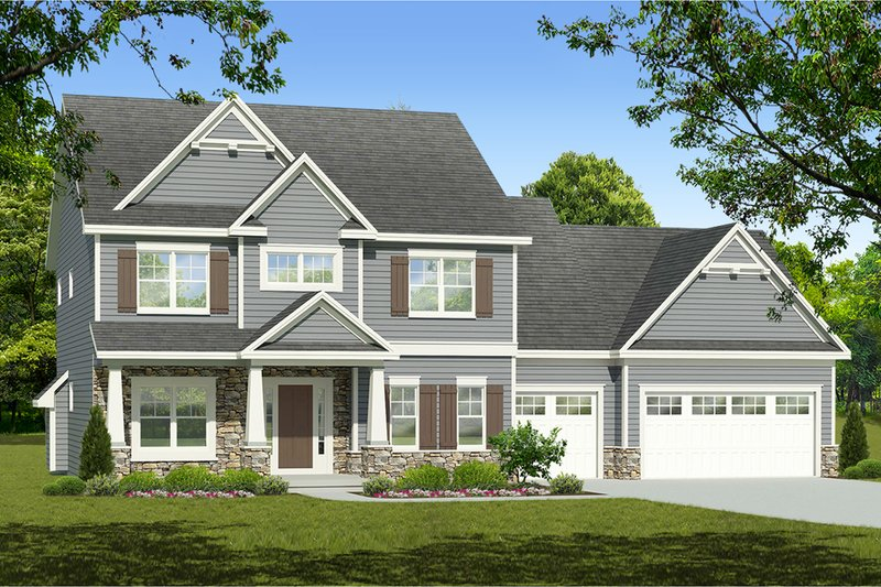 Architectural House Design - Colonial Exterior - Front Elevation Plan #1010-216