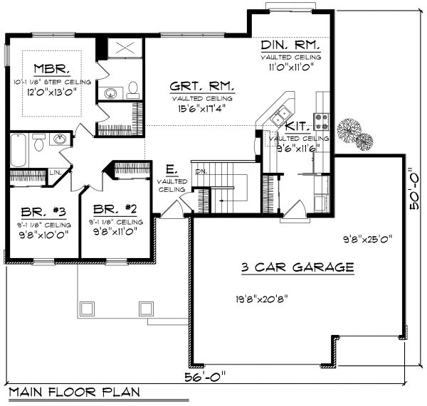 Craftsman Floor Plan - Main Floor Plan Plan #70-1159