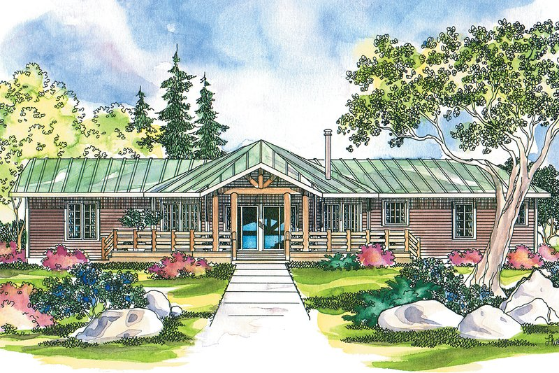 Ranch Exterior - Front Elevation Plan #124-205