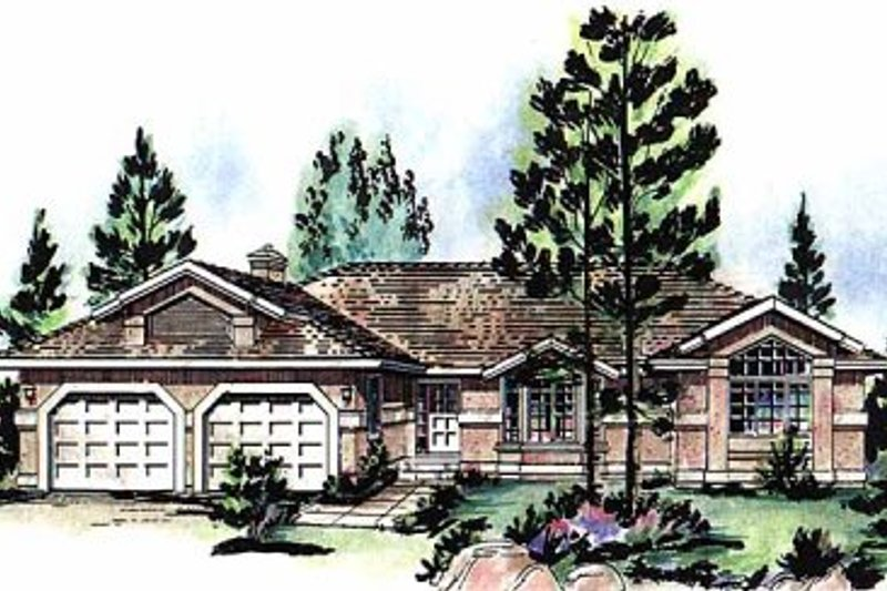 Ranch Style House Plan - 3 Beds 2.5 Baths 2035 Sq/Ft Plan #18-140 Exterior - Front Elevation