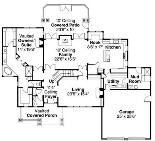 Craftsman Floor Plan - Main Floor Plan Plan #124-778