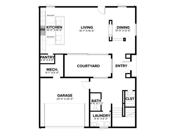 Modern Floor Plan - Main Floor Plan Plan #1076-2