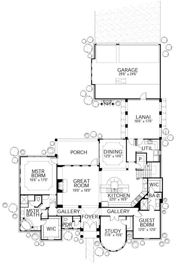 Mediterranean Floor Plan - Main Floor Plan Plan #80-207