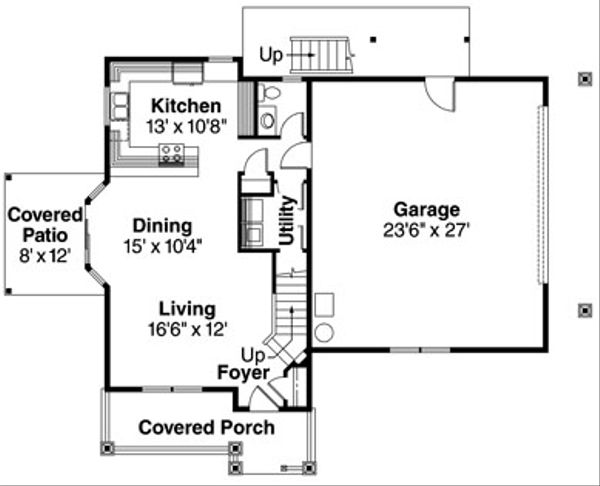 Craftsman Floor Plan - Main Floor Plan Plan #124-623
