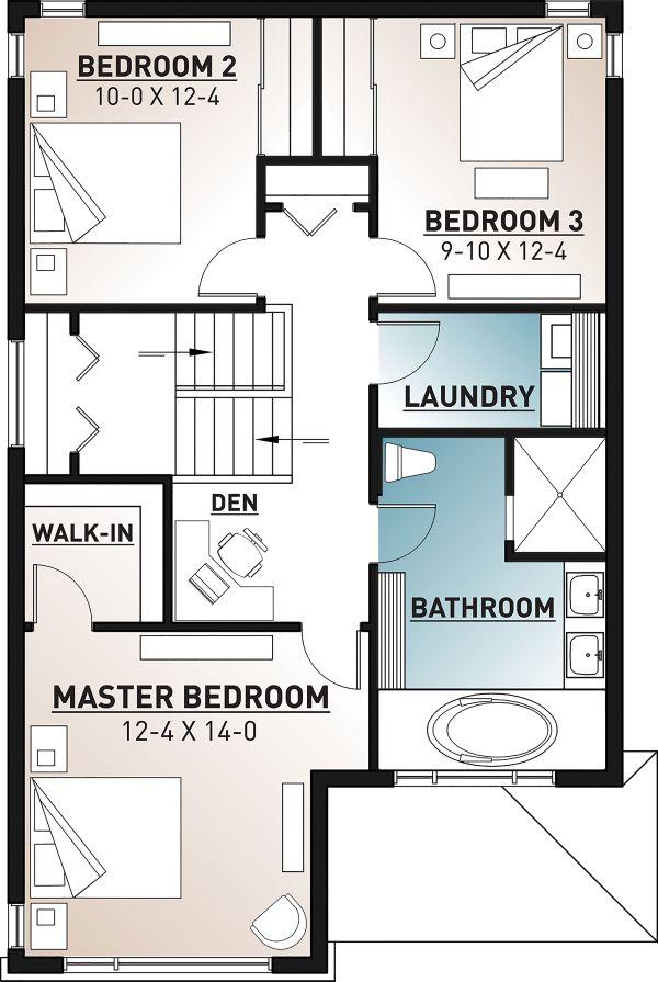 Contemporary Floor Plan - Upper Floor Plan Plan #23-2708