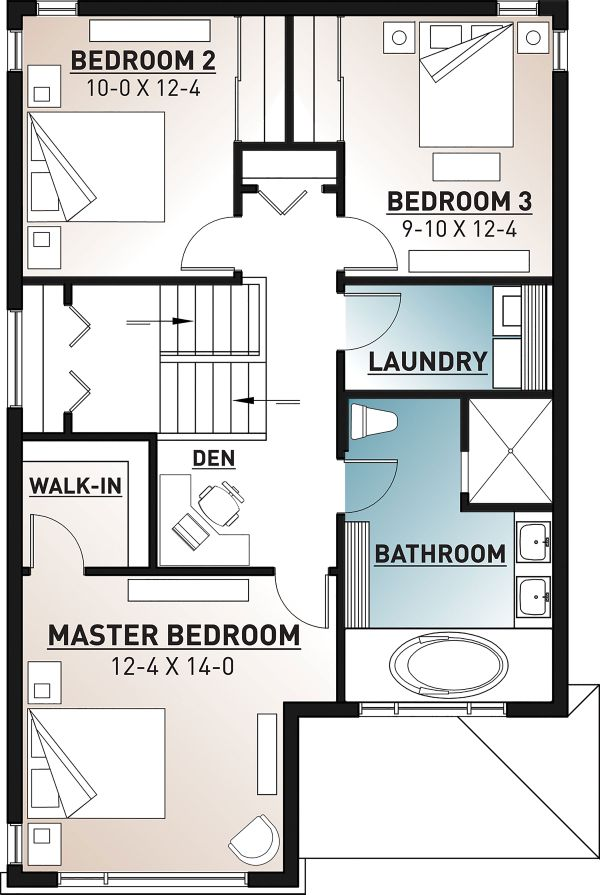 Contemporary Floor Plan - Upper Floor Plan Plan #23-2708