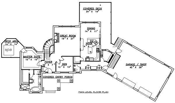 Bungalow Floor Plan - Main Floor Plan Plan #117-518