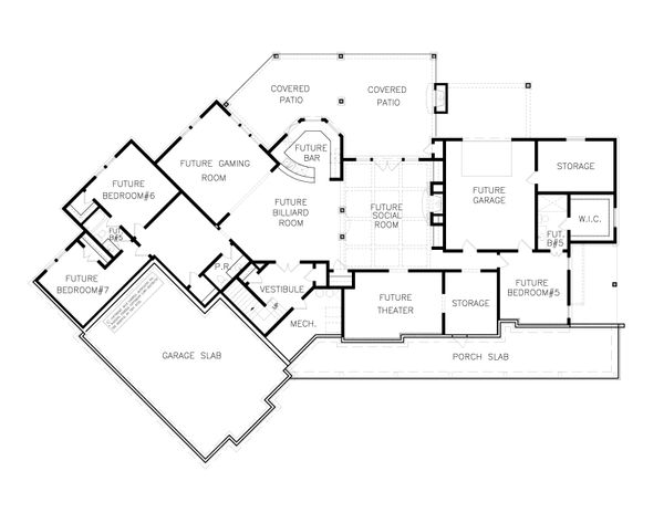 Farmhouse Floor Plan - Lower Floor Plan Plan #54-390