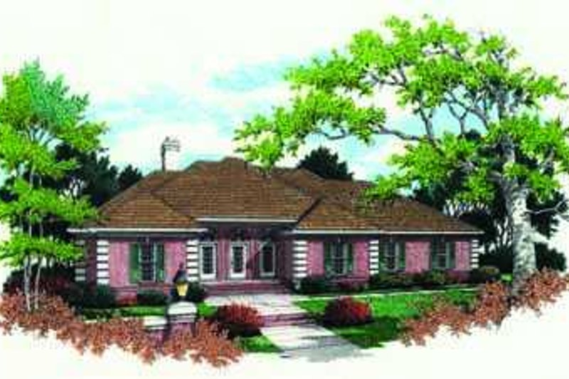 European Style House Plan - 4 Beds 2.5 Baths 2936 Sq/Ft Plan #45-218 Exterior - Front Elevation
