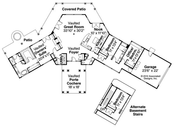 Ranch Floor Plan - Main Floor Plan Plan #124-575