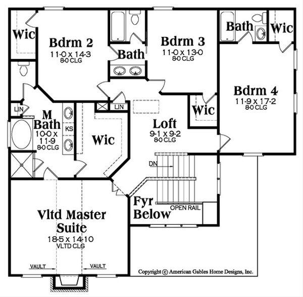 Traditional Floor Plan - Upper Floor Plan Plan #419-312