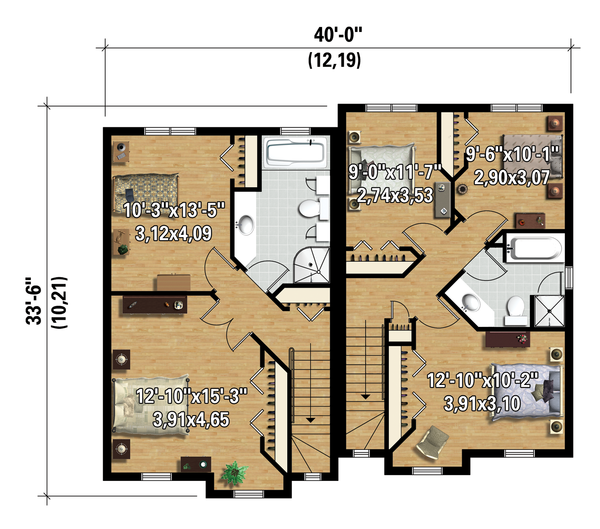 Contemporary Floor Plan - Upper Floor Plan Plan #25-4353