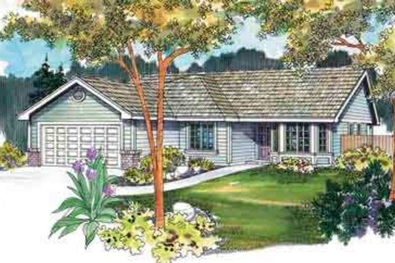 Ranch Exterior - Front Elevation Plan #124-468