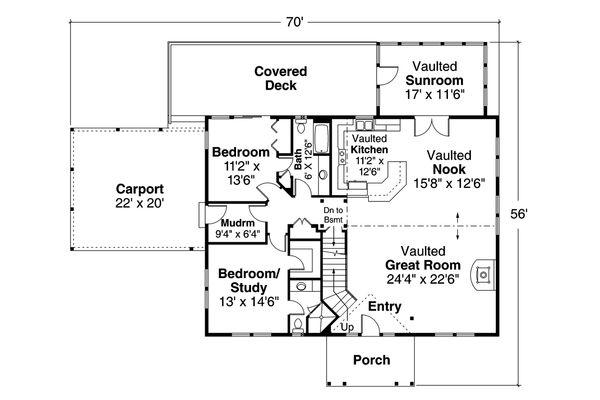 Cottage Floor Plan - Main Floor Plan Plan #124-1157