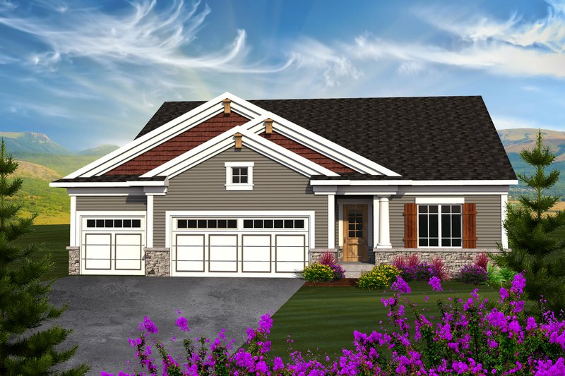 Ranch Exterior - Front Elevation Plan #70-1162