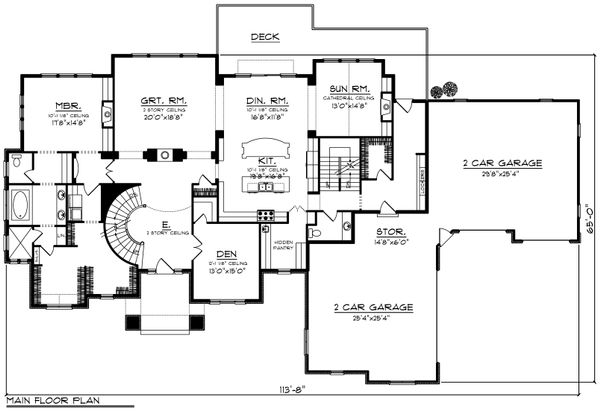 Architectural House Design - Traditional Floor Plan - Main Floor Plan #70-1206