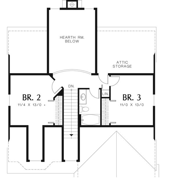 Craftsman Floor Plan - Upper Floor Plan Plan #48-536