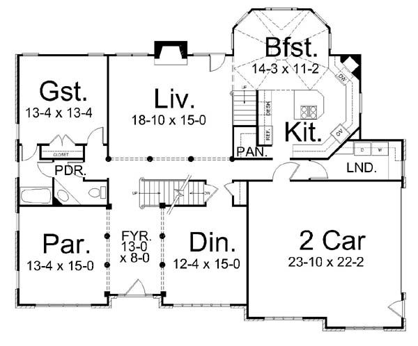 European Floor Plan - Main Floor Plan Plan #119-263