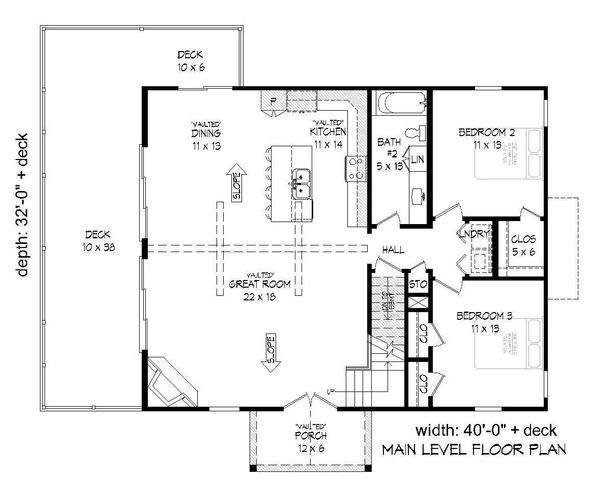 Country Floor Plan - Main Floor Plan #932-204