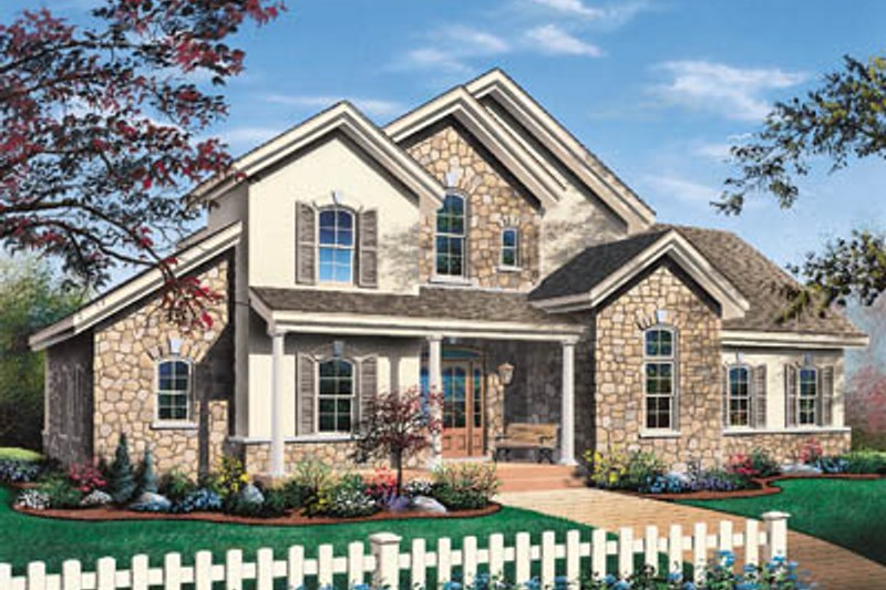 European Style House Plan - 3 Beds 2.5 Baths 2353 Sq/Ft Plan #23-232 Exterior - Front Elevation
