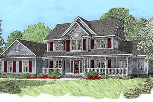 Architectural House Design - Country Exterior - Front Elevation Plan #11-120