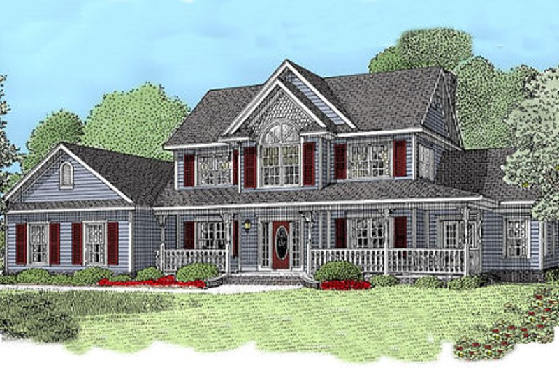 Dream House Plan - Country Exterior - Front Elevation Plan #11-120