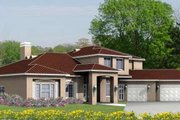 Adobe / Southwestern Style House Plan - 4 Beds 3.5 Baths 3972 Sq/Ft Plan #1-889 Exterior - Front Elevation