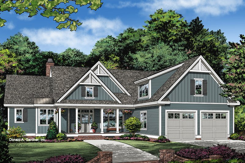 Ranch Style House Plan - 3 Beds 2 Baths 1754 Sq/Ft Plan #929-1085 Exterior - Front Elevation