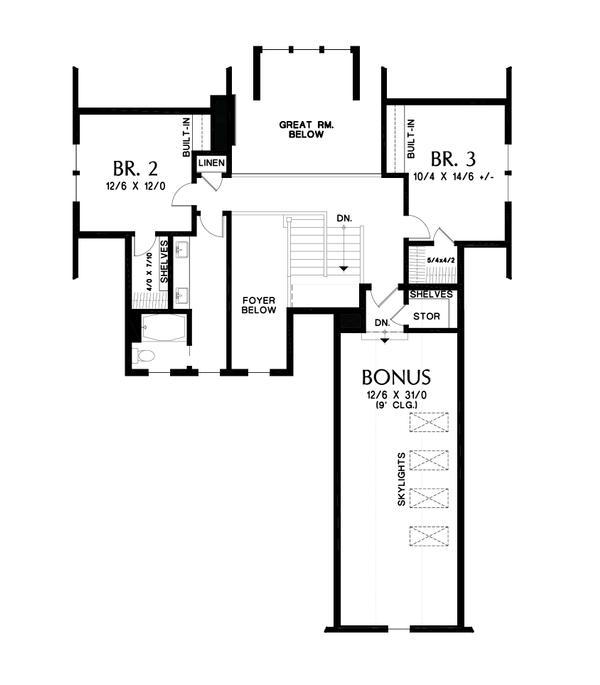 Contemporary Floor Plan - Upper Floor Plan #48-993