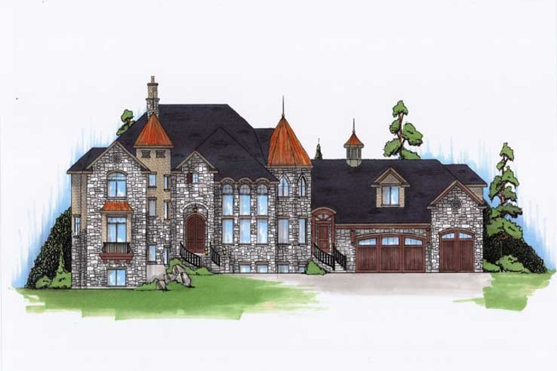 European Style House Plan - 8 Beds 7.5 Baths 5561 Sq/Ft Plan #5-447 Exterior - Front Elevation