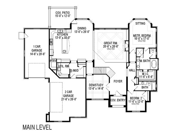 Traditional Floor Plan - Main Floor Plan Plan #920-44