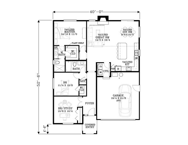 Craftsman Floor Plan - Main Floor Plan Plan #53-569