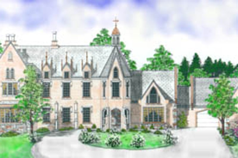 European Style House Plan - 4 Beds 3.5 Baths 4006 Sq/Ft Plan #52-130 Exterior - Front Elevation