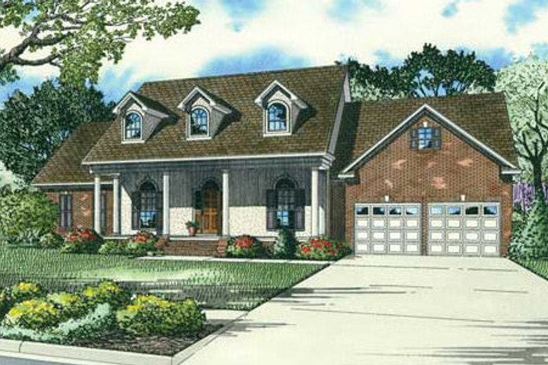 Country Style House Plan - 4 Beds 2.5 Baths 2405 Sq/Ft Plan #17-2342 Exterior - Front Elevation