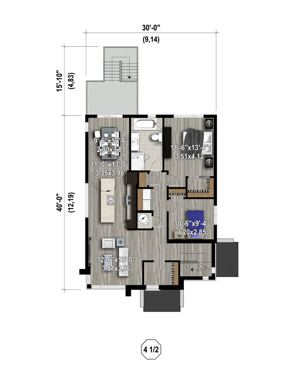 Contemporary Floor Plan - Upper Floor Plan Plan #25-4555
