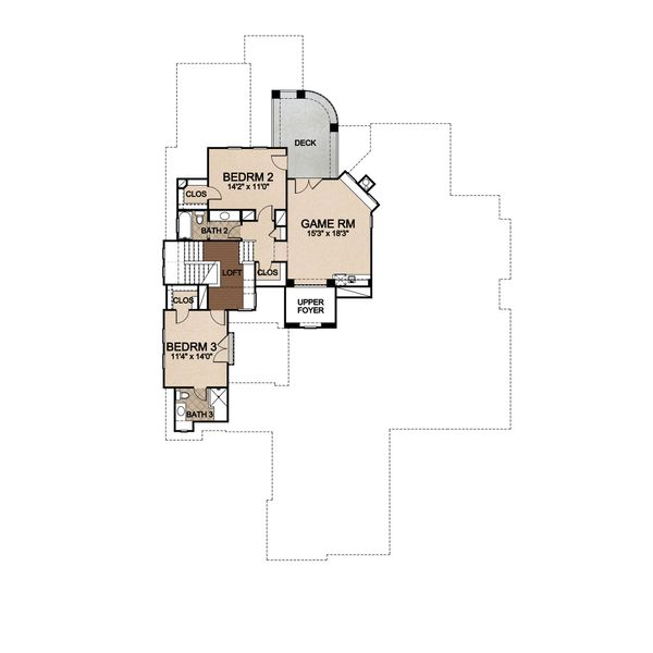 House Plan Design - Prairie Floor Plan - Upper Floor Plan #80-198