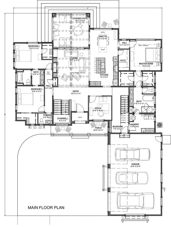 Farmhouse Floor Plan - Main Floor Plan Plan #1069-18