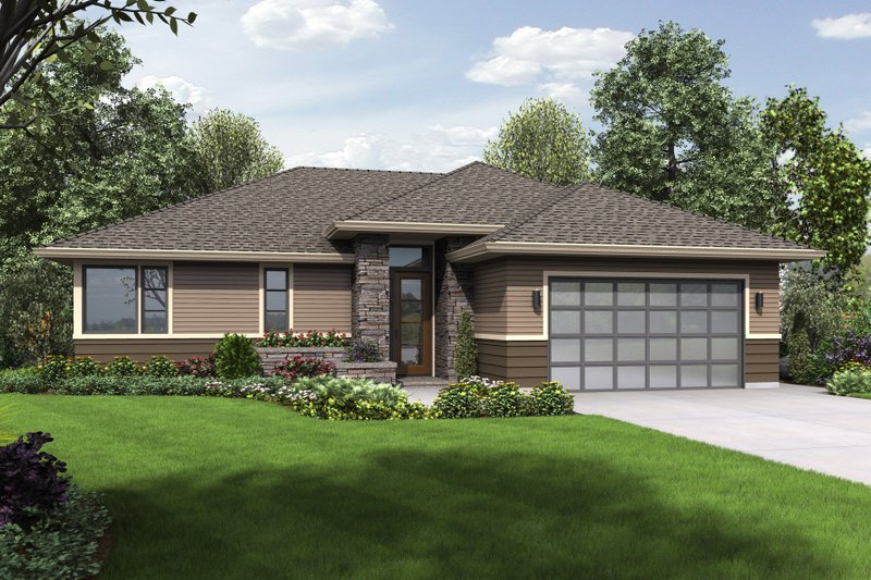 Prairie Style House Plan - 3 Beds 2 Baths 1759 Sq/Ft Plan #48-684 Exterior - Front Elevation