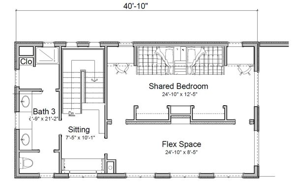 Contemporary Floor Plan - Upper Floor Plan Plan #451-24