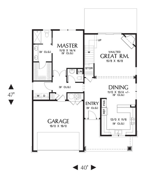 Craftsman Floor Plan - Main Floor Plan Plan #48-643