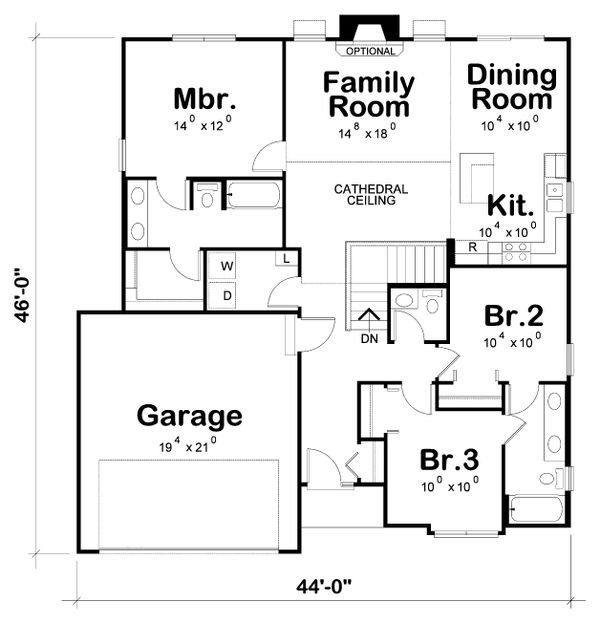 Ranch Floor Plan - Main Floor Plan Plan #20-2290
