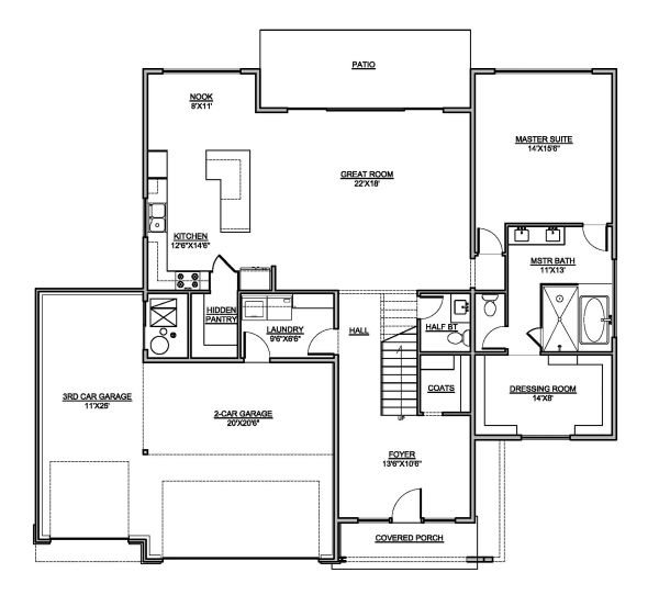 Modern Floor Plan - Main Floor Plan Plan #1073-4